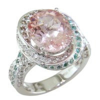 Morganite, Paraiba Tourmaline, and Diamond Ring