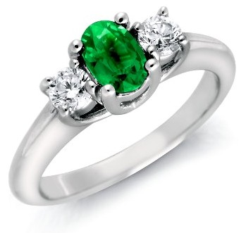 Emerald Engagement Rings Three Stone