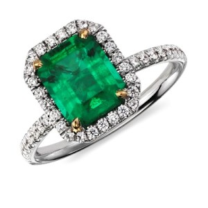 Emerald Engagement Rings Pave Set with Diamonds