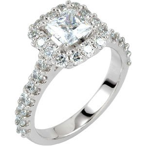 Engagement Ring Set With Pave Diamonds